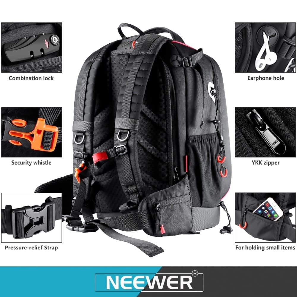 Neewer Pro Camera Case Waterproof Shockproof Adjustable Padded Camera Backpack Bag with Anti-theft Combination Lock