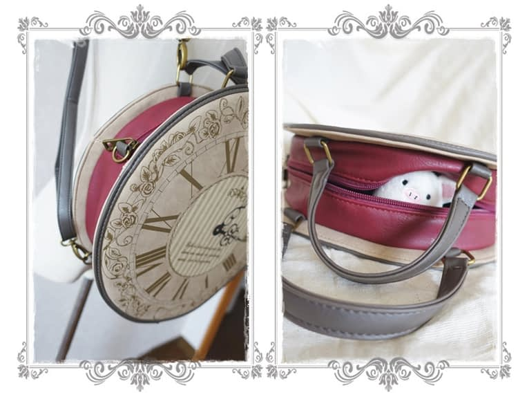 Vintage Round Watch Designer Bag Japan Lolita Style 3 Ways Shoulder Bag Lady Girls Alice Bag