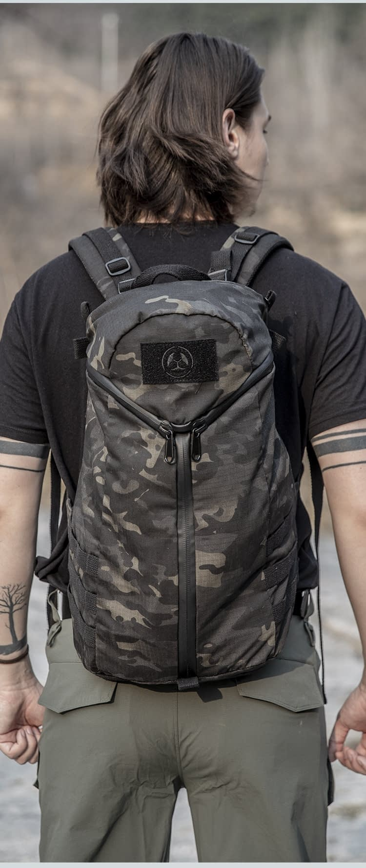 Tactical Lightweight Camo Backpack Army Fan Combat Training Military Bag Outdoor Hiking Travel Large Capacity Desert Rucksack