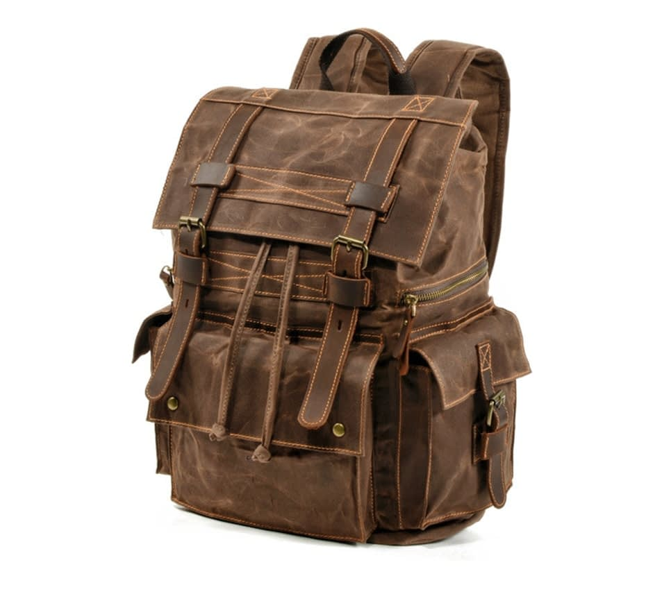 Outdoor Classic Waterproof Canvas Rucksacks Backpack Leather Men Women Backpack Travel Bag Large Waxed Teenagers Laptop Backpack