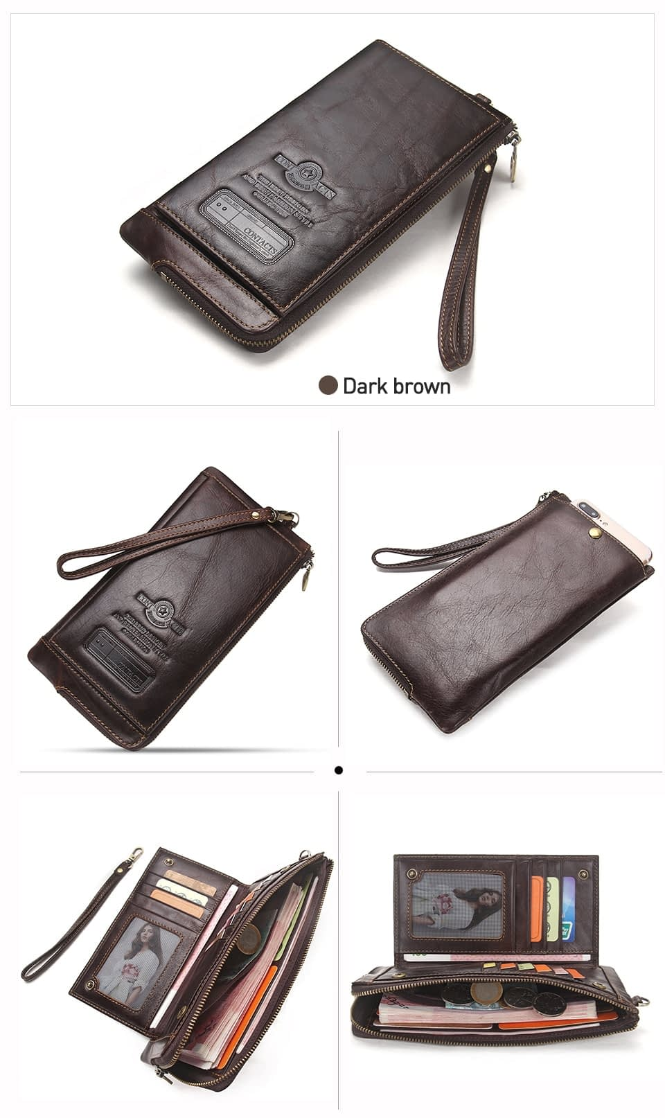 2020 Men Wallet Clutch Genuine Leather Brand Rfid Wallet Male Organizer Cell Phone Clutch Bag Long Coin Purse Free Engrave