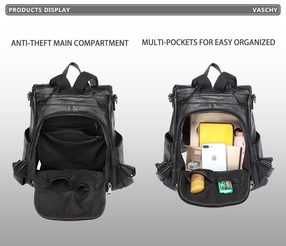 VASCHY Fashion Vegan Leather Anti-theft Women Backpack Vintage Weave Unique Soft School Bag for Teenager Girl Designer Purse